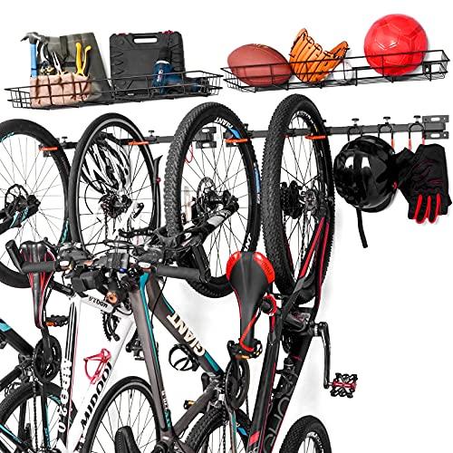 ikkle Soporte de Pared para Bicicletas, Soporte bicicletas pared con Cesta de Almacenamiento, Aparcamiento 6 Bicicletas, Colgador de Bici de Pared con Ganchos para Colgar - 2-Pack