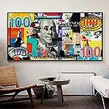 ganlanshu Imagen de Lienzo de Arte de Pared Lienzo de 100 dólares para Sala de Estar decoración del hogar Pintura,Pintura sin marco-30X60cm