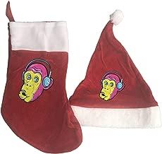 Monkey Wearing Headphones Christmas Stocking and Santa Hat Decoration Home Decor Gift Set
