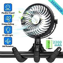 Mini Ventilador portátil, Ventilador de Cochecito alimentado por Batería o Usb, Camping Ventilador con Trípode flexible y Luces LED, flujo de Aire Fuerte pero silencioso, 720 ° ajustable 3 Velocidades