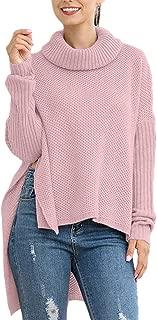 FAFOFA Women's Oversized Turtleneck Side Slit High Low Wool Long Sweater