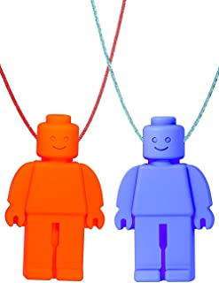 GNAWRISHING Chew Necklace (Block Buddies) 2-Pack (Red and Blue with Colored Cords) - Perfect for Autistic, ADHD, SPD, Oral Motor Children, Kids, Boys, and Girls (Tough, Long-Lasting)