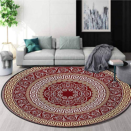 New RUGSMAT Greek Key Modern Machine Washable Round Bath Mat,Round and Square Ornament Meander with ...