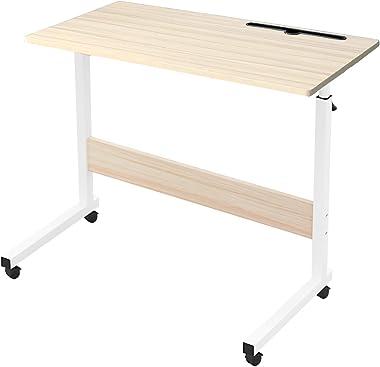Novhome Bureau Ordinateur Roulant Table Mobile Portable, 80 x 40 cm Hauteur réglable roulettes verrouillables Table d'app