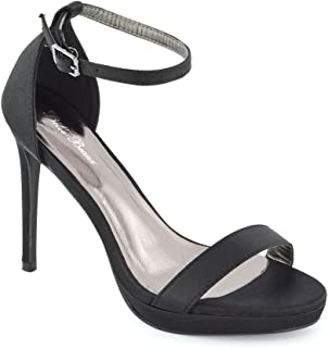 Womens Ankle Strap High Heels Ladies Barely There Single Band Open Toe Platform Stiletto Heeled Sandals