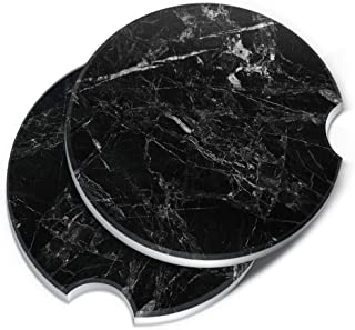CARIBOU Coasters, Cloudy Black Marble ROUND Ceramic Stone Car Coasters for Drinks (2.56 inches), 2pcs Set