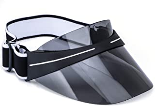 Sun Visor Cap Summer UV Protection Sport Sun Visor Hat for Women Men with Adjustable Elastic Strap and Transparent PC Lenses