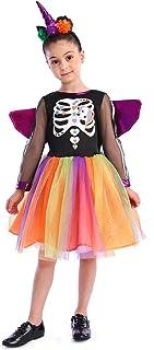 Meisjes Eenhoorn Skeleton Heks Kostuum Creatieve Elegante Halloween Heks Skeleton Fancy Jurk