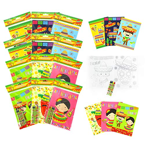 TINYMILLS Fiesta Coloring Book Set for Kids Party Favors with 12 Coloring Books and 48 Crayons Fiesta Party Favor Bag Filler Spanish Classroom Rewards Cinco de Mayo Party Favors