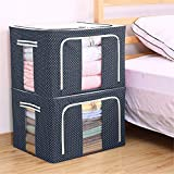 Eastjing Storage Bins Boxes, Foldable Stackable Container Organizer Metal Frame Basket Set with Large Clear Window & Carry Handles for Bedding,Clothes,Closets, Bedrooms (2 Pack)
