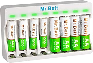 AAA Battery Charger, Mr.Batt Rechargeable Battery Charger with Rechargeable AA Batteries (4 Pack) and Rechargeable AAA Bat...