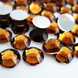 Zbella 3,000 Piece Resin 14-Facet Flat Back Round Rhinestones 3mm ss12, 4mm ss16, 5mm ss20 Bulk Free Rhinestone Picker Wax Pencil (Topaz)