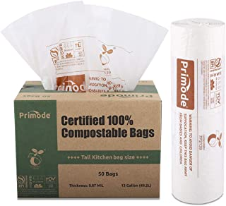 Primode 100% Compostable Bags, 13 Gallon Food Scraps Yard Waste Bags, 50 Count, Extra Thick 0.87 Mil. ASTMD6400 Compost Bags Small Kitchen Trash Bags, Certified By BPI And TUV