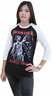B&S Womens Metallica and Justice for All Tour 3/4 Sleeve Baseball T-Shirt Jersey