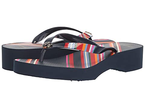 c88e9a7cc Tory Burch Printed Cut Out Wedge Flip-Flop at Zappos.com