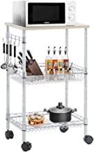 FDW Heavy Duty Utility Cart Wire 3 Tier Rolling Cart Organizer NSF Kitchen Cart on Wheels Metal Microwave Cart Large with Wire Shelving and Microwave Table Heavy Duty Commercial Grade,Wood/Chrome
