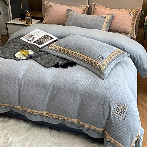 juego de ropa de cama 135x190-Invierno gruesa cálida franela de doble cara cama individual individual king funda nórdica doble funda...