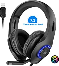 EasySMX PS4 Headset, Headset with Mic, [7.1 Surround Sound], [Noise Reduction Mic], On-Earcup Control, RGB LED Lights, Professional PC Gaming Headset, Gaming Headphones for Xbox One, PS4, Laptop