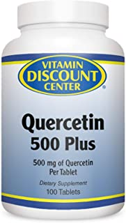Vitamin Discount Center Quercetin 500 Plus, with Vitamin C, Bromelain and Turmeric, 100 Tablets