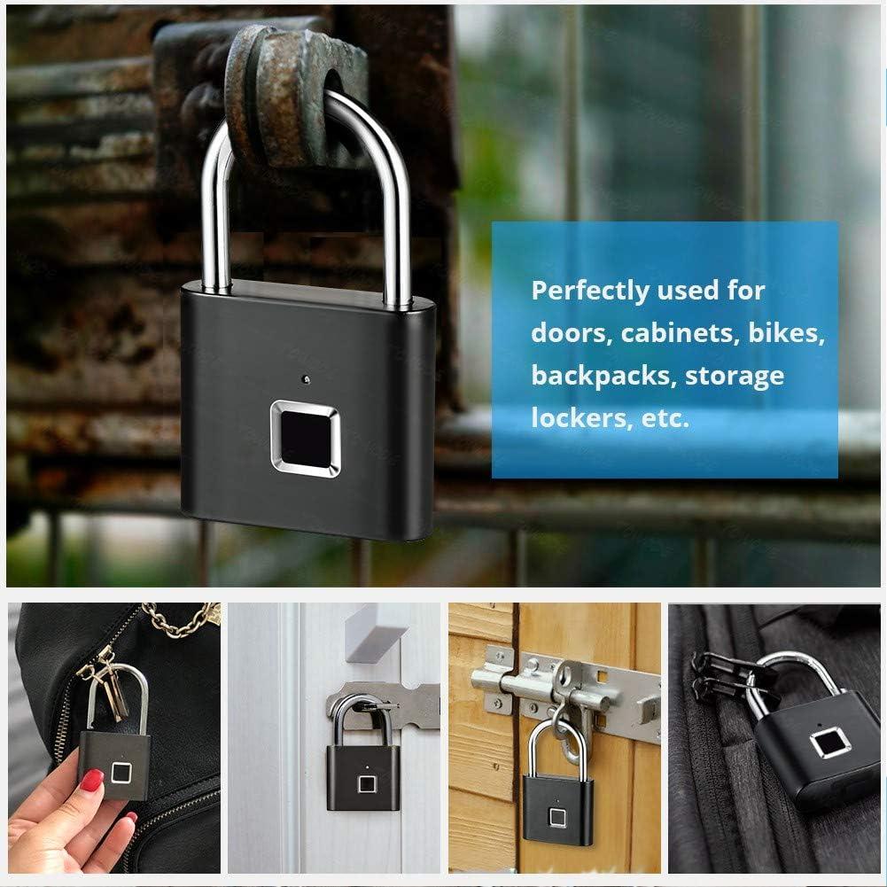 Serrure Biometrique pour Utilisation en Int/érieur Et en Plein AirBlack Intelligente sans Cl/é /étanche S/écurit/é Cadenas Exterieur YCHBOS Cadenas /à Empreintes Digitales