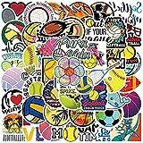 DINGQING 50 pièces Autocollants de Balle personnalisés Football Basket-Ball Rugby Autocollants Graffiti imperméables Valise Casque Planche à roulettes Jouets Bricolage Manuel Autocollants
