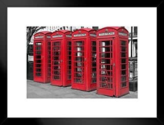 Poster Foundry Famous Red Old Fashioned UK Telephone Boxes Photo Art Print Matted Framed Wall Art 26x20 inch