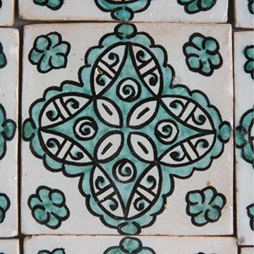 Casa Moro Marokkanische handbemalte Keramikfliese Nehir 10 x 10 cm Kunsthandwerk aus Marokko Wandfliese für schöne Küche Dusche Badezimmer | HBF8150