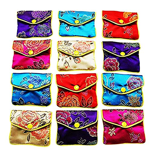 Lembeauty 12 Stück Schmuckrollen-Aufbewahrungstaschen aus Seide, für kleine Schmuck-Geschenktaschen.