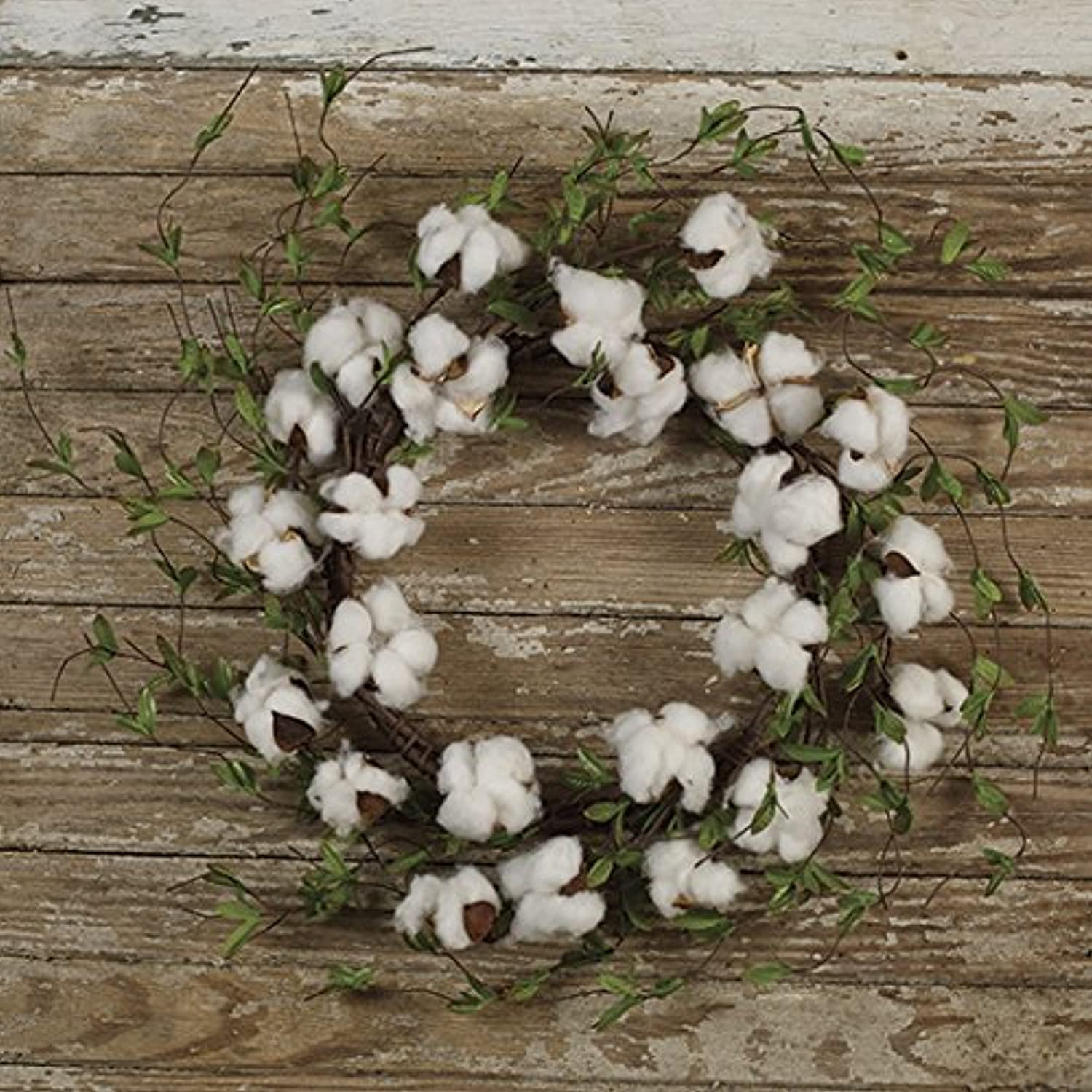The Country House Collection Cotton 'N' Leaves Boll Floral Wreath (20  Outer Diameter)