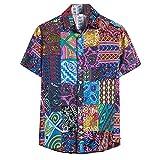Men Cardigan Short Sleeve Hawaiian Beach Flower Shirt Lapel T-Shirts Tops