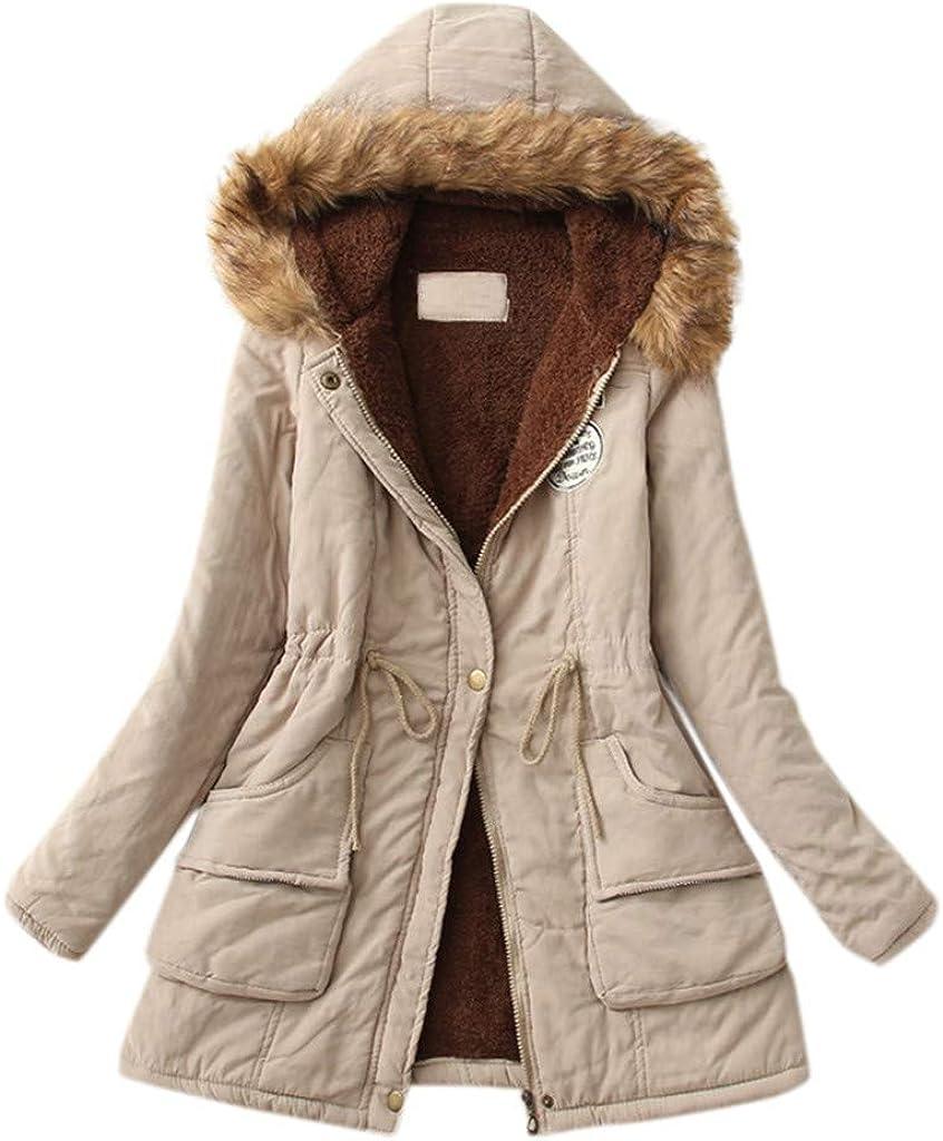 Coats for Women, Women's Fleece Military Parka Fur Hooded Coat Jacket Zip Up Outerwear Coat with Pockets