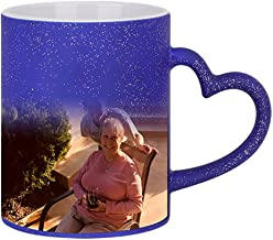 Magic Custom Photo Color Changing Coffee Mug Cup, Personalized DIY Print Ceramic Hot Heat Sensitive Cup Birthday Christmas Gift -Add YOUR PHOTO&TEXT (Blue-Star Bling, Heart Handle)