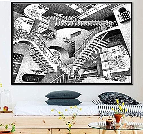 Escher surrealistische geometrische houten legpuzzels 1000 stuk, volwassenen decompressie educatief speelgoed, kinderen…
