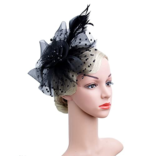 fb06353bb2a39 Czioe Flower Cocktail Tea Party Headwear Feather Fascinators Top Hat for  Girls and Women
