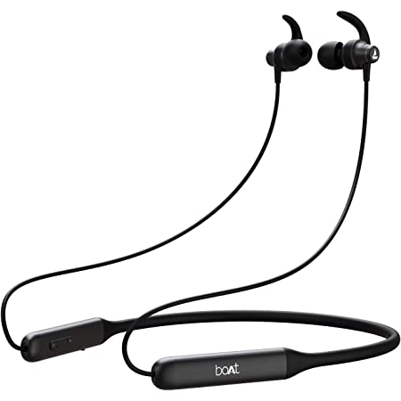 Boat Rockerz 335 Wireless Neckband with ASAP Charge, Up to 30H Playback, Qualcomm aptX & CVC, Enhanced Bass, Metal Control Board, IPX5, Type C Port, Bluetooth v5.0, Voice Assistant(Active Black)
