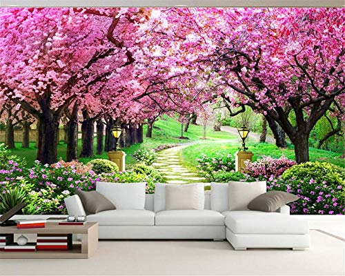 3D Fondos De Pantalla Cerezo Jardín Jardín Camino Paisaje Fondo Pared Sala De Estar Dormitorio Tv Fondo Mural Foto,200Cmx140Cm