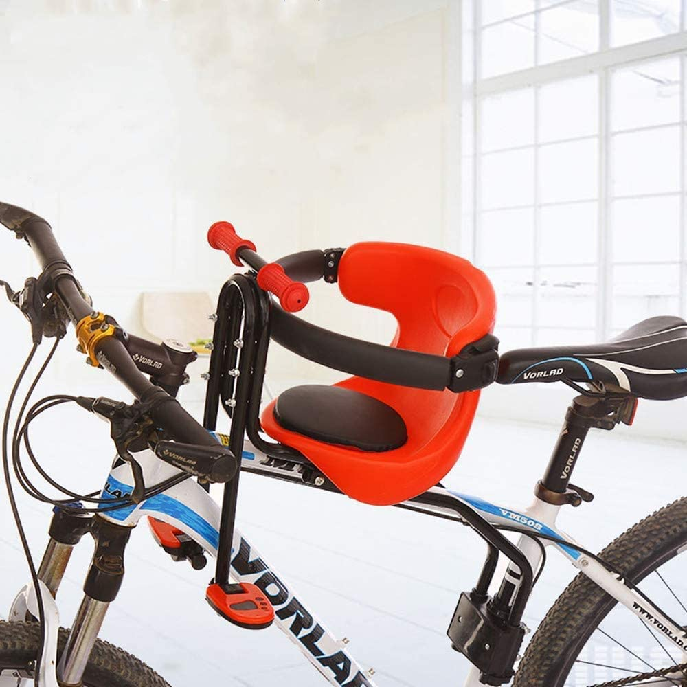 HYMIC Bicycle Baby Seat, Bike Child Seat, Safety Seat for Bikes Kids Safety Carrier Front Seat with Cushion Armrest Saddle Cushion Back Rest Foot Pedals