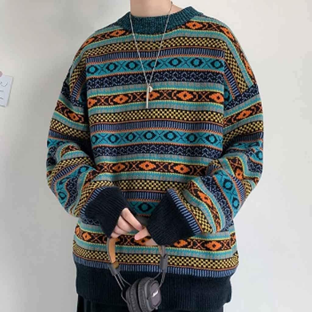 ZYING Autumn Winter Striped Knitted Sweater Men Clothes Pullover Men Sweater Black Men's Sweater Knit (Color : XL Code)