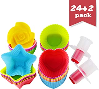 DLOnline 24 pieces Silicone Cupcake Liners,Reusable Baking Cups Nonstick Easy Clean Pastry Molds 4 Shapes Round, Stars, Heart, Flowers,with 2 Cupcake Plunger Cutter Pastry Corer as Complimentary gift