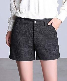 法贝莱 2018秋季新款女装韩版时尚显瘦毛呢格子短裤女秋冬外穿打底靴裤子K-3378