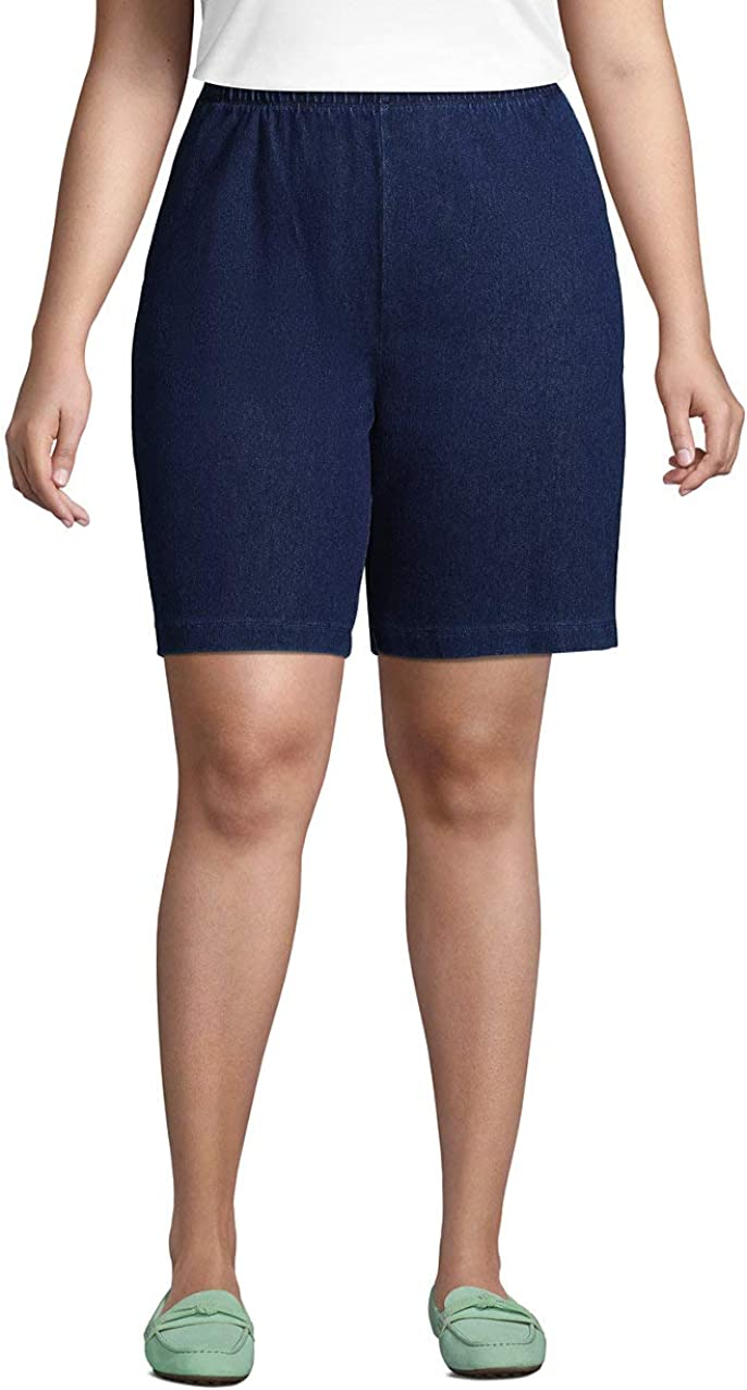 Lands' End Women's Sport Knit High Rise Elastic Waist Pull On Shorts
