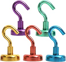 Colorful Magnetic Hooks - 5 Assorted Bright Colors - 25lb Strong Heavy Duty Neodymium Magnet Hooks - Use for Home Kitchen Office Garage Outdoor Cruise Ship Hanging(5Pack)