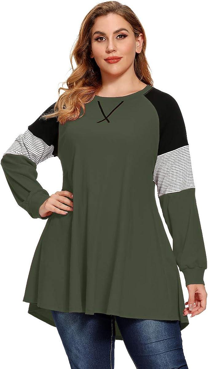 LARACE Plus Size Tops Women Pullover Sweatshirt Color Block Tee Long Sleeve Tunic Striped Raglan Shirt