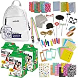 Fujifilm Instax Mini 11 9 8 90 70 Camera Accessories - Travel Kit -Backpack Shoulder Bag,Fuji Instant Film (60 Sheets), Lens Cloth, Strap, Washi Tape, Stickers, Photo Frames,Album- Smokey White