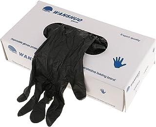 D DOLITY 100Pcs Black Nitrile Disposable Gloves Powder Latex Free Mechanic Tattoo Gloves - Black, L