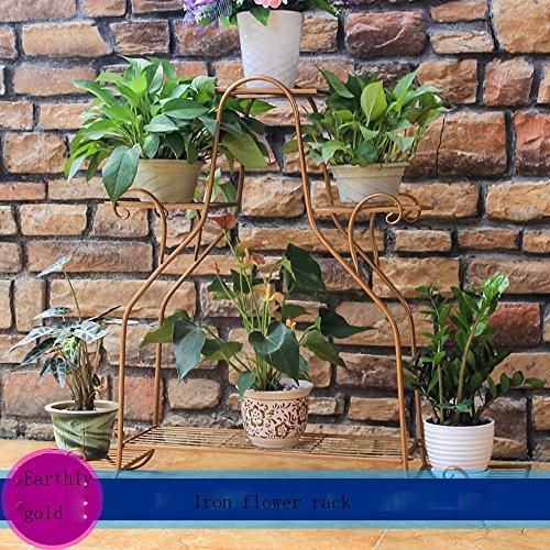 Porte-fleurs multifonctions Corbeilles à fleurs Corbeille à fleurs en fer Pots de sol à plusieurs étages Corbeille à fleurs pour salon intérieur et extérieur Corbeille à fleurs multifonctions (3 coule