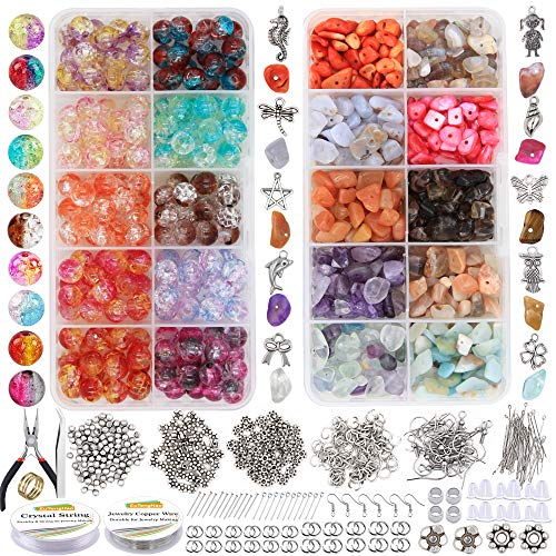 EuTengHao 1458Pcs Irregular Chips Stone Beads Natural Gemstone Beads and Crackle Lampwork Glass Beads 8mm Round Handcrafted Crackle Beads Kit for Bracelet Necklaces Earring Jewelry Making Craft