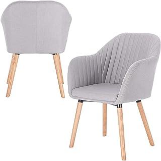 Relaxbx Sillas de Comedor Juego de 2 sillas de Cocina de Lino Madera Maciza con reposabrazos, Silla de Cocina Silla tapizada Diseño Gris Claro