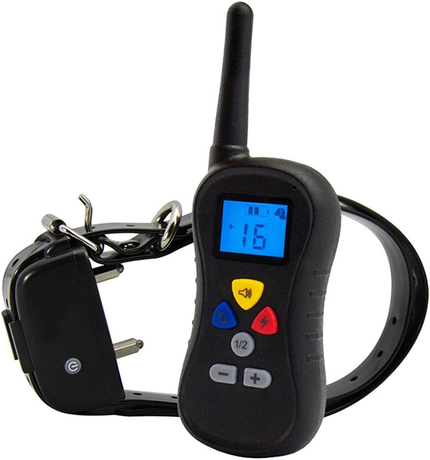 Sank Waterproof Remote Dog Training Collar,Vibration Shock and Tone with Backlight LCD for Large Medium Small Dogs