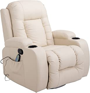 HomCom Heated Vibrating Massage Rocker Recliner Chair with Remote, Faux Leather, Cream White
